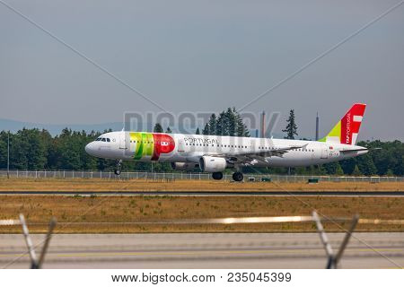 AIRPORT FRANKFURT,GERMANY: JUNE 23, 2017: Airbus A321 TAP Air Portugal is the flag carrier airline of Portugal is a member of the Star Alliance