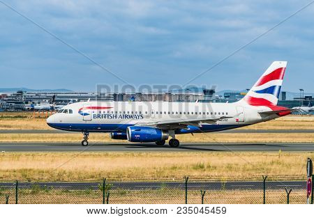 AIRPORT FRANKFURT,GERMANY: JUNE 23, 2017: Airbus A320 British Airways is the largest airline in the United Kingdom based on fleet size, or the second largest behind easyJet