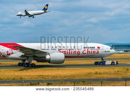 AIRPORT FRANKFURT,GERMANY: JUNE 23, 2017: Boeing 777 China Southern Airlines is the largest airline based in Guangzhou and based at Guangzhou Airport. She is a member of the aviation alliance SkyTeam