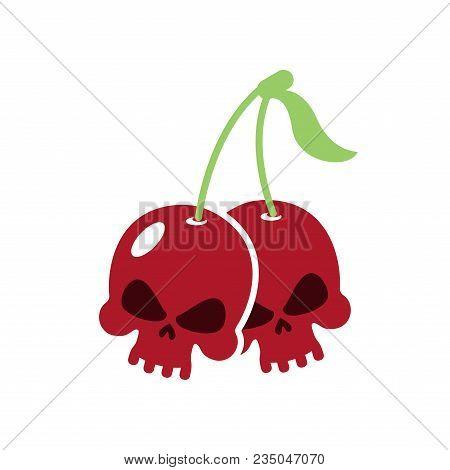 Cherry Skull. Deadly Berry. Head Of Skeleton. Vector Illustration