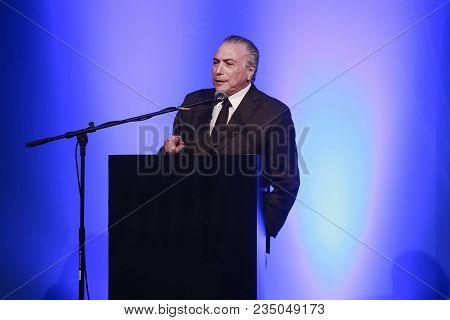 Sao Paulo, Brazil - Sept 24, 2015 - Michel Temer Is A Brazilian Lawyer And Politician Actual  Presid