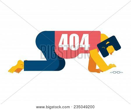 404 Error Page Not Found. Man All Fours Search Glasses. Vector Illustration