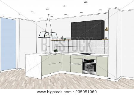 3d Rendering. Modern Kitchen Design In Light Interior. Kitchen Sketch. There Is Also A Kitchen Islan