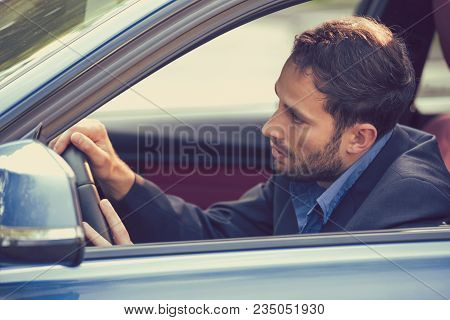 Side Window View Sleepy Fatigued Exhausted Man Driving His Car. Transportation Accident Risk And Sle