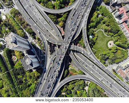 Elevated 5 Levels Road Junction In Shanghai Center. Aerial View From Drone