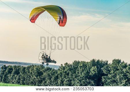 Prokhorovka, Belgorod Region, Russia -august 06, 2017: Flight On Motor Glider In The Evening Sky. Fe