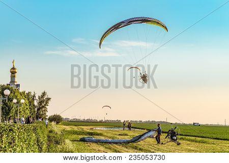 Prokhorovka, Belgorod Region, Russia -august 06, 2017: Flying On Motor Gliders. Takeoff And Landing