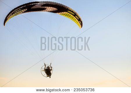 Prokhorovka, Belgorod Region, Russia -august 06, 2017: Flight On Motor Glider Over The Tops Of Green