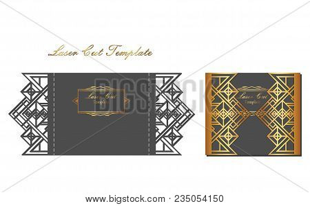 Laser Cutting Template Of Invitation. Black And White Invitation With A Gold Patterned Border Slotte