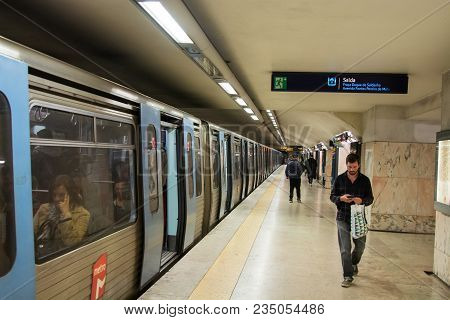 Lisbon Portugal. 04 April 2018. Saldanha Subway Station In Lisbon.lisbon, Portugal. Photography By R