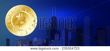 Golden Bitcoin Symbol On Night Blue City Background. Bitcoin And Blockchain Technology Concept. Bitc