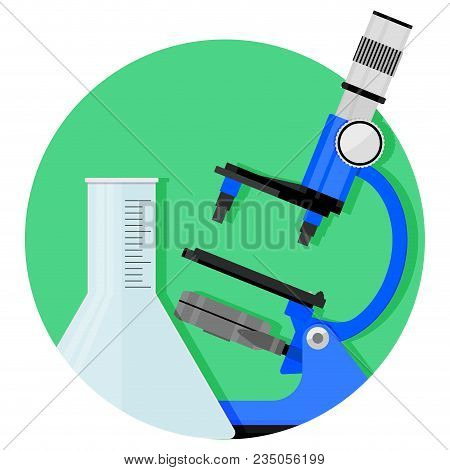 Scientific Research Icon. Vector Chemistry And Biology, Research Experiment Illustration