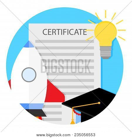 Start Education And New Life. Start Project Learning, Launch Rocket, Knowledge And University. Vecto