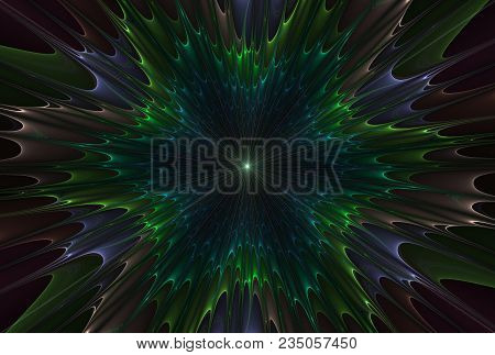 Beautiful Fractal Abstract Explosion Star Illustration - Blue And Green - Background, Fractal Explos