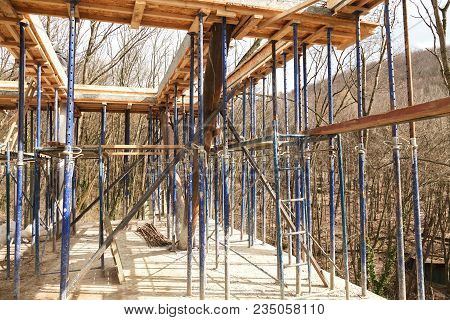 Strengthen The Foundation Of The Second Floor Of The House With Metal Racks. Wooden Frame For Formwo