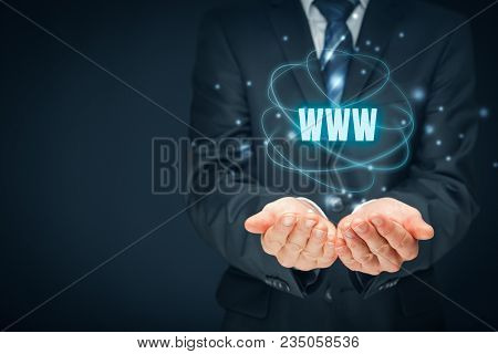 World Wide Web (www) - Internet Websites And Seo Concepts. Businessman Or Programmer Offer Www Servi