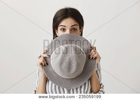 Girlfriend Confess Were She Spent All Money. Portrait Of Emotive Cute Caucasian Female With Dark Hai