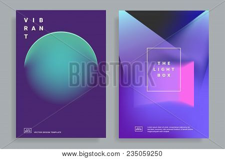 Set Of Covers Design Templates With Vibrant Gradient Shapes. Trendy Modern Design. Applicable For Pl