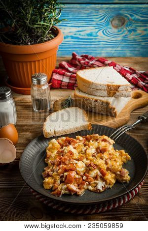 Scrambled Eggs With Sausage.