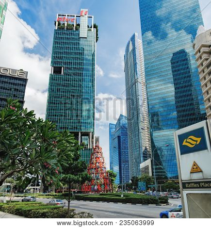 Singapore - January 17, 2018: View Of The Downtown Core Of Singapore In Central Business District On