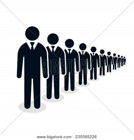 Businessmen Ranks, People Line Group Of Human Silhouette Figures Illustration.