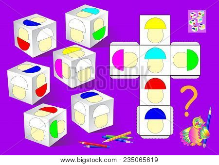 Logic Puzzle Game. Need To Paint The White Mushrooms On The Dices According To Pattern. Vector  Cart