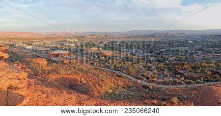 Desert And City Panoramic Views From Hiking Trails Around St. George Utah Around Beck Hill, Chuckwal