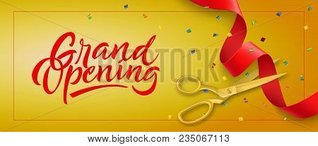 Grand Opening Festive Banner Design With Frame, Confetti And Gold Scissors Cutting Red Ribbon On Yel