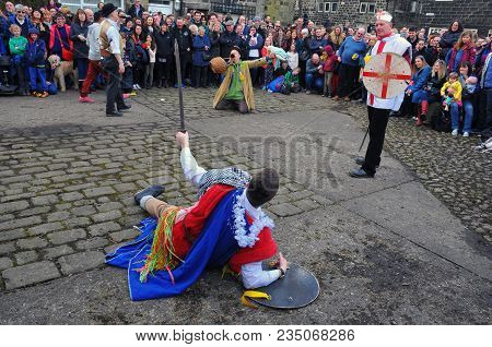 Heptonstall, Uk - March 20 2018: Actors In A Scene From The Traditional Good Friday Pace Egg Play In