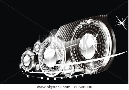 modern technogenic abstract background - bright flashes poster