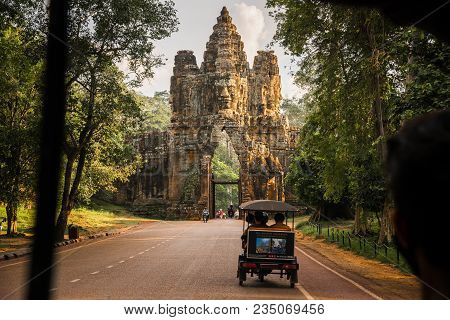 Siem Reap, Cambodia - October 05 2016: The Bayon Gate Of Angkor Thom The Ancient Khmer Empire In Sie