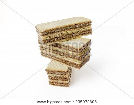 Close Up Of Wafers Isolated On White Background.  File Contains A Clipping Path.