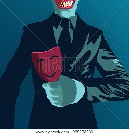 Concept Of Business Trap Or Betrayal, A Man With Business Suite Holding Smiling Mask