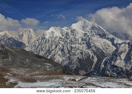 Mountains Of The Langtang Himal Seen From Mount Tserko Ri, Popular Viewpoint In Kyanjing Gumba, Lang
