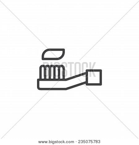 Toothbrush With Toothpaste Outline Icon. Linear Style Sign For Mobile Concept And Web Design. Oral H