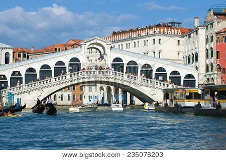 Venice, Italy - September 26, 2017: Rialto Bridge Close-up By Sunny Day