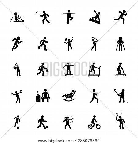 Icon Set Of Active People. Sport, Leisure, Fitness. Activity Concept. For Topics Like Healthy Lifest