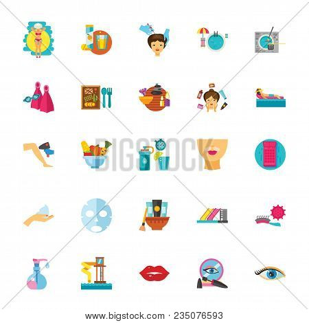 Icon set of dieting, hygiene, fitness and makeup symbols. Bodycare, spa salon, beauty treatment. Beauty concept. For topics like healthcare, improvement, beauty industry poster