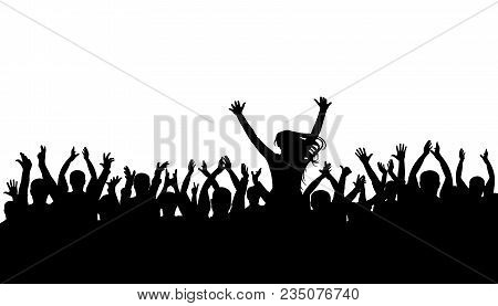Applause Crowd Silhouette, Cheerful People. Concert, Party. Funny Cheering, Isolated Vector. Girl On