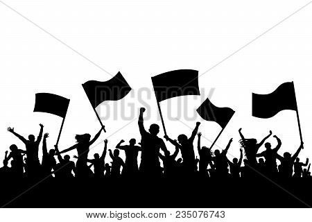 Cheerful Crowd People Silhouette. Crowd Applauding. Demonstration, Protest. Sports Fans With Flags.