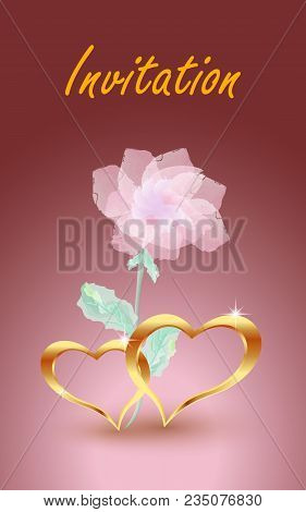 Gold, Jewelry Hearts With Rose. Vector Eps10 Illustration