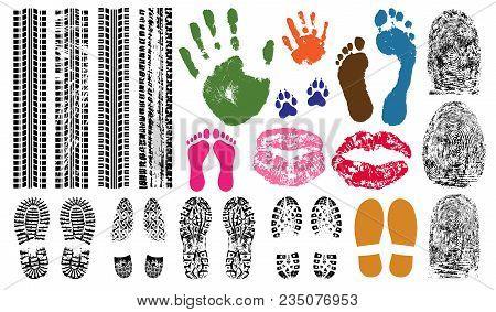 Handprint, Footprint, Fingerprint, Print Of The Lips, Tire Tracks. Imprint Set Collection Evidence.