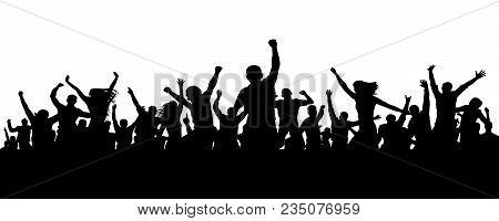 Joyful Mob. Crowd Cheerful People Silhouette. Applause Crowd. Happy Group Friends Of Young People Da