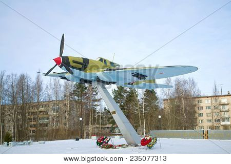 Lebyazhe, Russia - February 20, 2017: Il-2 Stormtrooper On A Pedestal On A Cloudy February Day. Monu