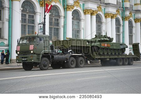 Saint Petersburg, Russia - May 07, 2017: Military Trailer Kamaz-65225 With A Tank At The Winter Pala