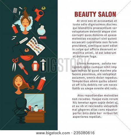 Woman Hairdresser Beauty Salon Poster Flat Design For Hair Coloring And Styling. Vector Icons Of Pro