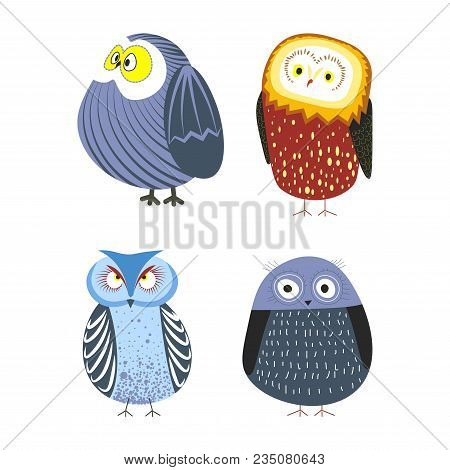 Owls Cartoon Kid Funny Characters With Feather Ornament. Vector Isolated Flat Icons Of Owl Bird In C