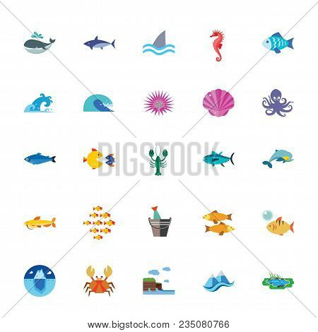 Icon Set Of Fish, Mollusks And Arthropods. Sea Life, Marine Life, Ocean. Water Animals Concept. For