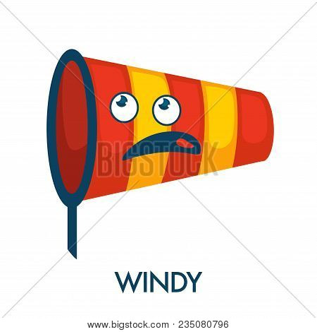 Windy Day Symbol In Shape Of Nettle With Confused Face. Funny Striped Bright Scoop-net With Ridiculo