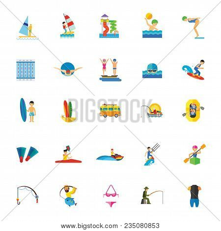 Icon Set Of Water Activities. Water Entertainments, Hobby, Professional Sport. Water Sport Concept.